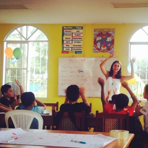 Michaela co-teaching in the English Community Center in Nueva Guinea.