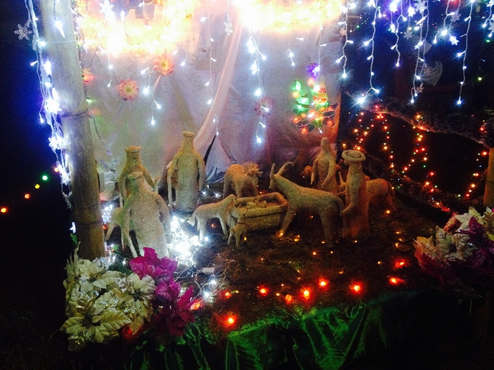 A nativity scene set up in the park for Christmas.