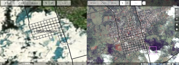 The above photo shows the previous satellite imagery side-by-side with the new imagery provided by the U.S. State Department. This will be extremely helpful to the Nueva Guinea mapping community who can now make accurate edits and add data to Open Street Maps.