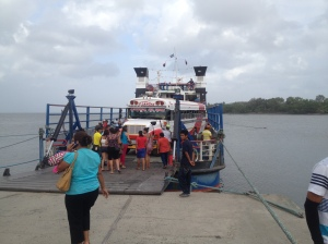 Taking the school bus the university chartered for the trip on the ferry from San Jorge to Ometepe Island.