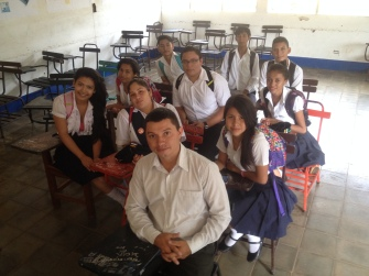 Bayron and our 11th grade English class at Ruben Dario High School in Nueva Guinea.