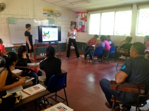 A session given by two PCVs on classroom management.